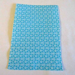 Iron-on  repair fabric - white mini flowers on dark turquoise