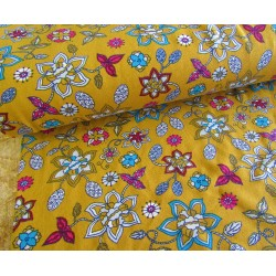 Cotton interlock jersey - Floral on mustard