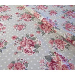 Cotton interlock jersey - Roses boquets on grey