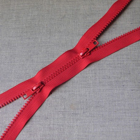 double slider chunky zip -  red -100cm