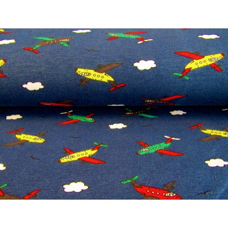 Cotton interlock jersey - Colorful airplanes on navy