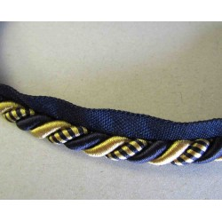 Upholstery piping cord 8mm - two color - navy / gold