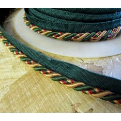 Tri color upholstery piping cord 8mm - dark green/ dark red/light brown
