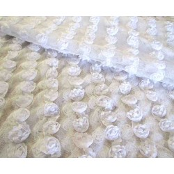 Beaded flowers 3D flexible tulle - white