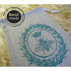 Bread Bag with Queen Bee print - 100% linen