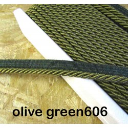 Twisted flanged rope  piping cord 7mm - olive 606