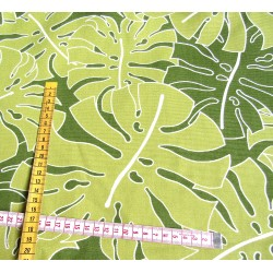 Cotton panama - Tropical leaves - lime green - remnant 0.90m