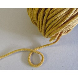 Braided Cotton Cord 5mm - dark yellow- 100m