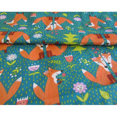 FOXES IN LOVE  on Teal - cotton canvas