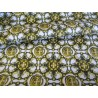 Waterproof fabric -  Gold Kaleidoscope on white