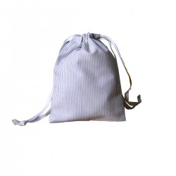 Drawstring bag - grey&white fine stripes - optional sizes