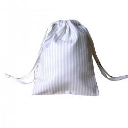 Drawstring bag - grey&white stripes - optional sizes