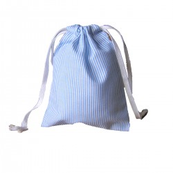Drawstring bag - blue&white fine stripes - optional sizes