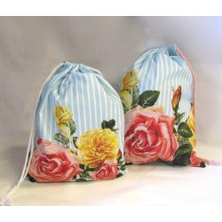 Travel Laundry Bag - Vintage Roses on stripes - optional sizes