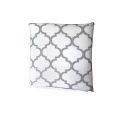 Moroccan Ornament Cushion - white&grey