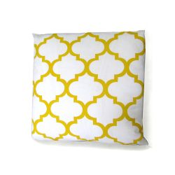 Moroccan Ornament Cushion - white&yellow
