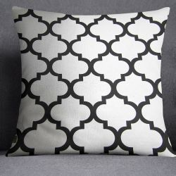 Moroccan Ornament Cushion - white&black