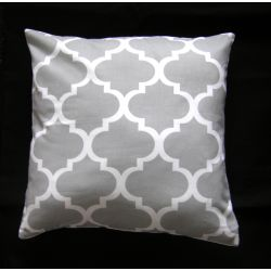 Moroccan Ornament Cushion - grey&white