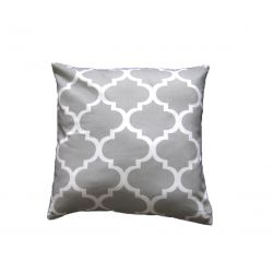 Moroccan Ornament Cushion - grey& off white
