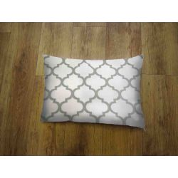 Oblong Cushion - white&grey