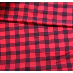 Sweatshirt jersey fabric -  red&black  medium  check