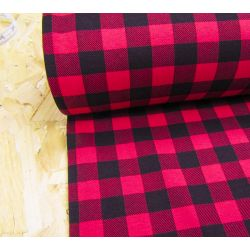 Sweatshirt jersey fabric -  red&black  small check