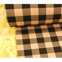 Sweatshirt jersey fabric -  dusky pink &black check