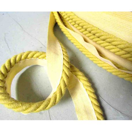 Cotton flanged rope  piping cord 10mm - pale green