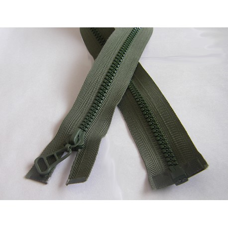chunky zip - open end - olive green  - 55cm