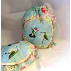 Travel Laundry Bag - Hummingbirds & Roses - optional sizes