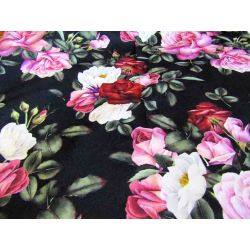 Roses on black - upholstery velvet