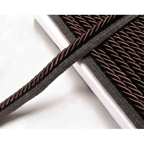 Thick flanged rope  piping cord 8mm - brown