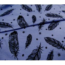 Sweatshirt jersey fabric -  black feathers - jeans