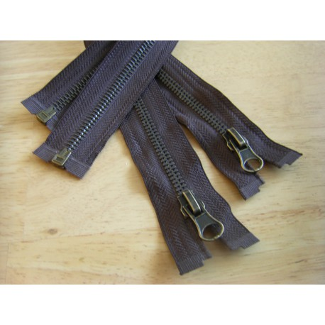 metal zip - brown -50cm - Antique Brass