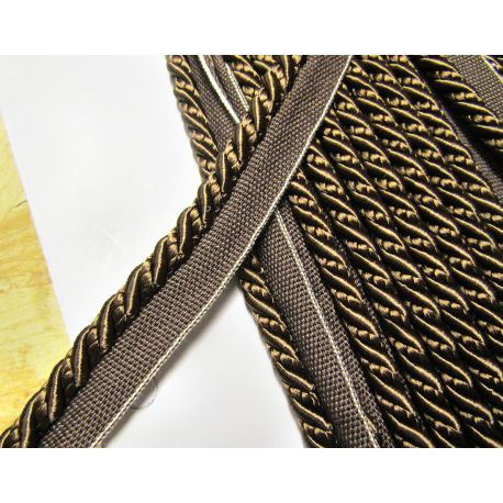 Thick flanged rope  8mm - beige, textural