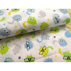 Cotton double gauze fabric - cats in glasses