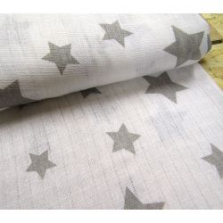 Cotton double gauze fabric - grey stars