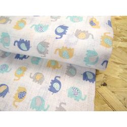 Cotton double gauze fabric - small elephants