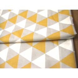 Mustard-White-Grey  Triangles - 100% Cotton