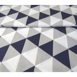 Dark Navy-White-Grey  Triangles - 100% Cotton
