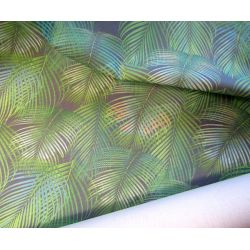 PALM_LEAVES_DENSE_dark grey- 100% cotton organic panama
