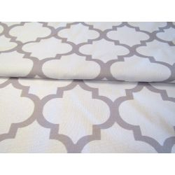 Maroccan Lattice  - Whie&Grey - 100% Cotton