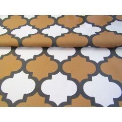 Moroccan Quatrefoil  - Mustard brown -Graphite-White - cotton panama