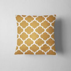 Moroccan Ornament Cushion - white-  chestnut brown