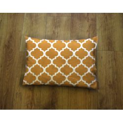 Oblong Cushion - white&chestnut brown