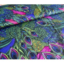 Waterproof fabric -Peacock feathers remnant 0,75m