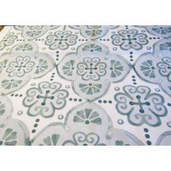 Green watercolor mosaic - heavy panama fabric