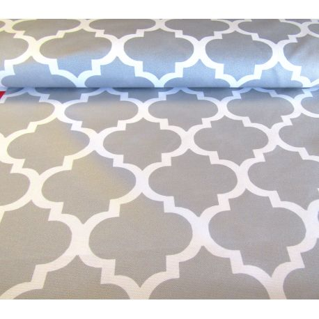 Waterproof fabric -  Moroccan Quatrefoil - grey