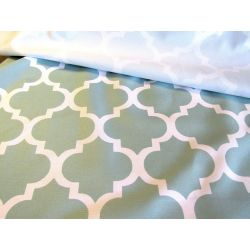 Waterproof fabric -  Moroccan Quatrefoil - duck egg green