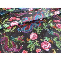 Waterproof Fabric - Dragons&Roses on black - remnant 0,30m
